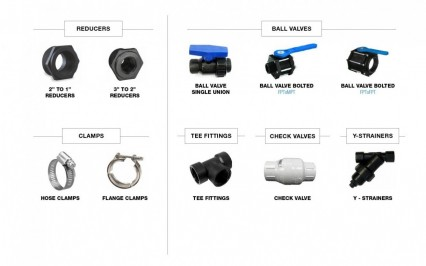 Reducers, Ball Valves, Clamps, Tee Valves, Y-strainers